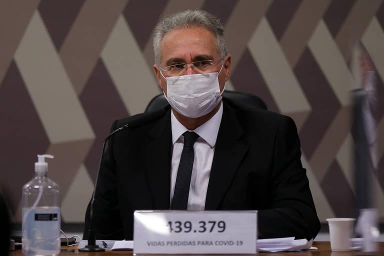 O senador Renan Calheiros (MDB-AL), relator da CPI da Covid, durante depoimento do ex-ministro Eduardo Pazuello