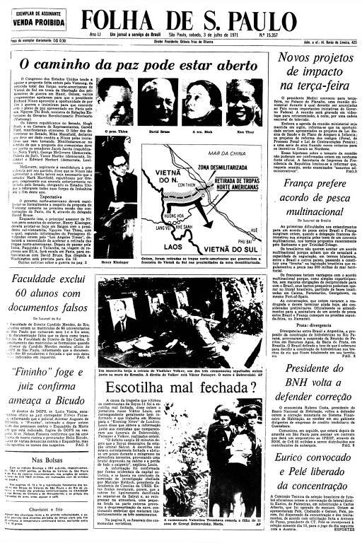 Primeira Página da Folha de 3 de julho de 1971