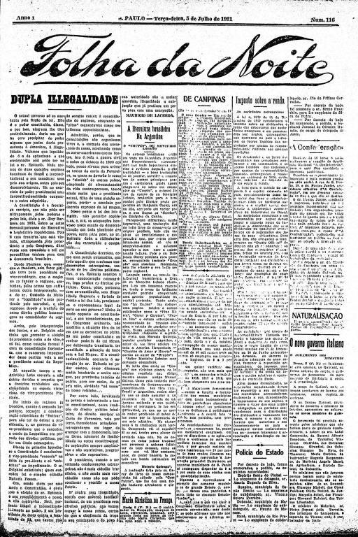 Primeira Página da Folha da Noite de 5 de julho de 1921