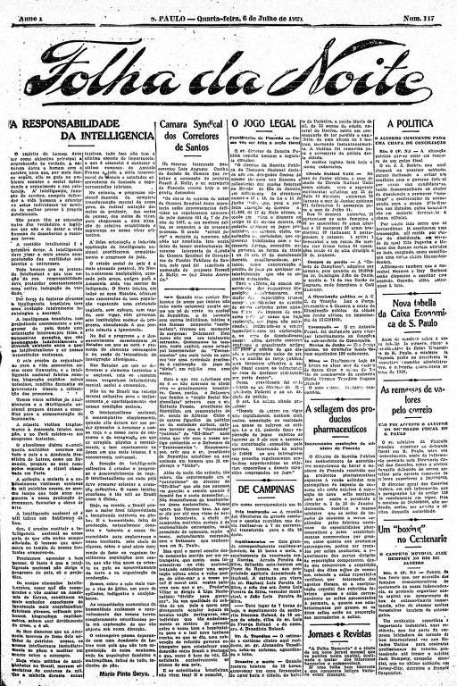 Primeira Página da Folha da Noite de 6 de julho de 1921
