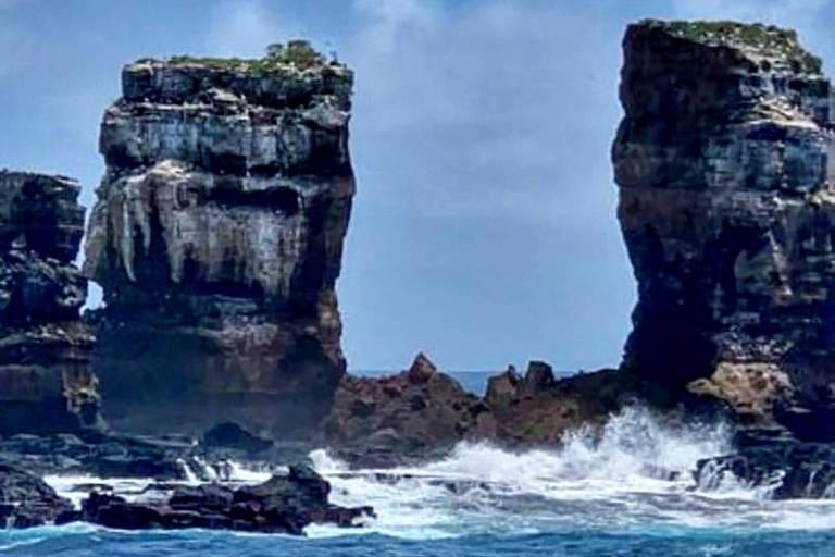 Topo do Arco de Darwin, formação rochosa em Galápagos, desaba; veja antes e depois