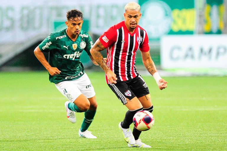 Palmeirense Gustavo Scarpa e são-paulino Luciano em duelo do Paulistão; Palmeiras e São Paulo começam nesta quinta a decidir o título do Campeonato Paulista, no Allianz Parque
