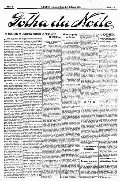 Primeira Página da Folha da Noite de 7 de julho de 1921