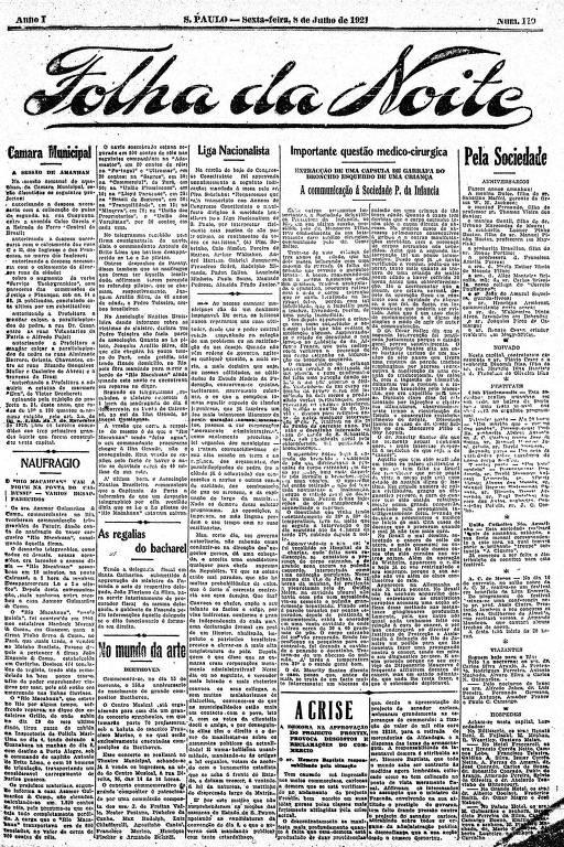 Primeira Página da Folha da Noite de 8 de julho de 1921