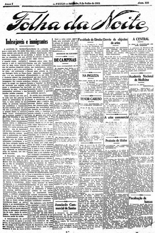 Primeira Página da Folha da Noite de 9 de julho de 1921