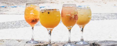 Aperol spritz, orange coffee, clericot e ginger tonic servidos pelo Botanikafé no Calçadão
