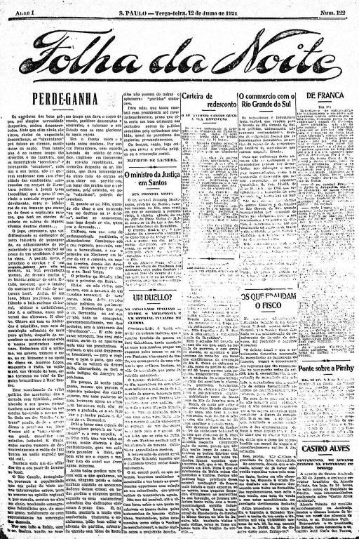 Primeira Página da Folha da Noite de 12 de julho de 1921