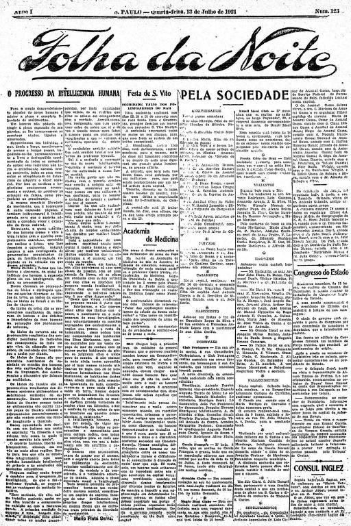 Primeira Página da Folha da Noite de 13 de julho de 1921