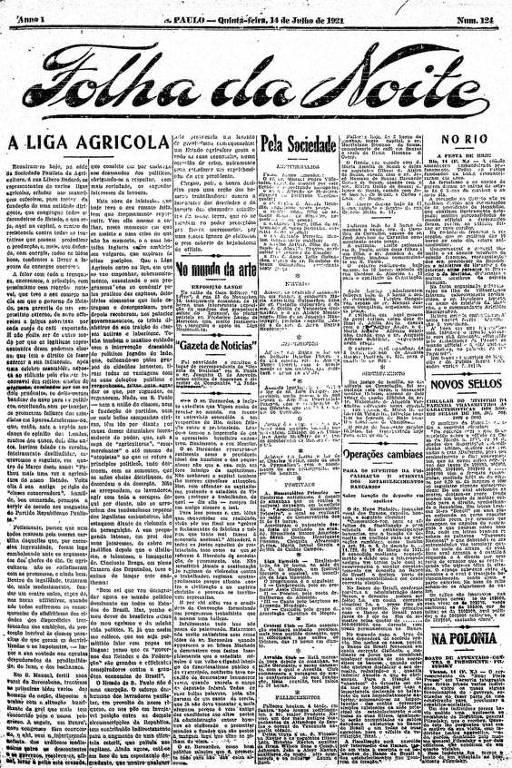 Primeira Página da Folha da Noite de 14 de julho de 1921