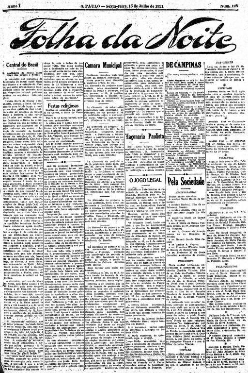 Primeira Página da Folha da Noite de 15 de julho de 1921