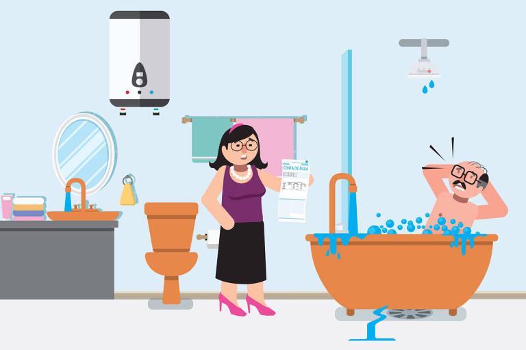 Ilustração para a coluna Nos prédios sobre o consumo de água em condomínios