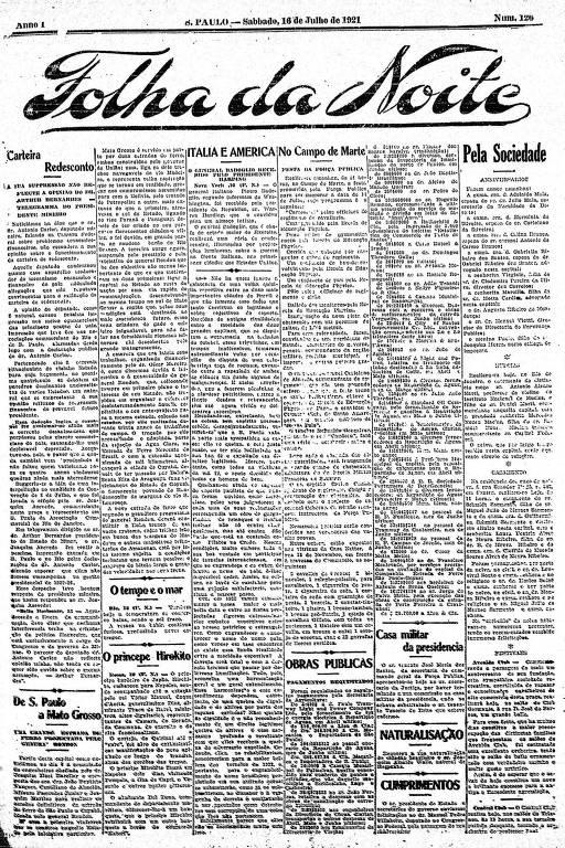 Primeira Página da Folha da Noite de 16 de julho de 1921