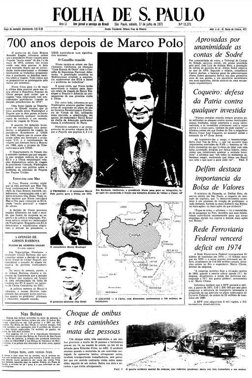 Primeira Página da Folha de 17 de julho de 1971