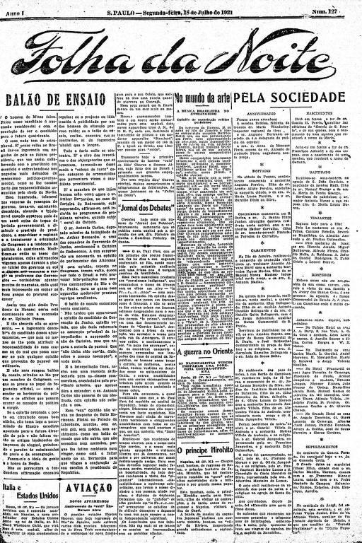 Primeira Página da Folha da Noite de 18 de julho de 1921