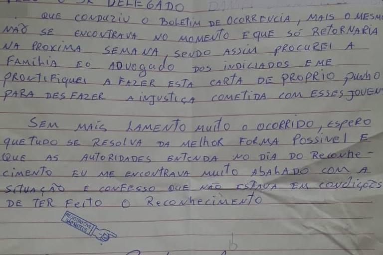 Carta de vítima de roubo que admitiu ter reconhecido incorretamente dois jovens