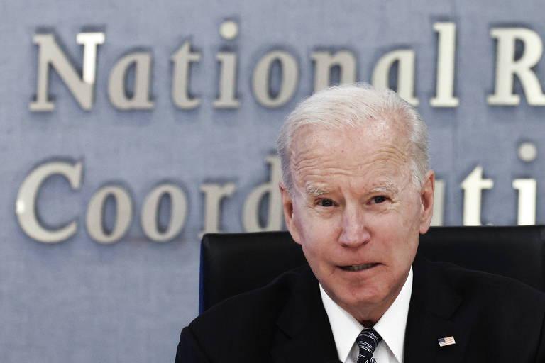 O presidente dos EUA, Joe Biden, discursa durante visita à Agência Federal de Gerenciamento de Emergências (Fema)