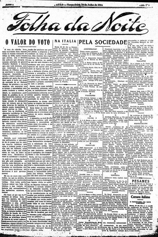 Primeira Página da Folha da Noite de 19 de julho de 1921