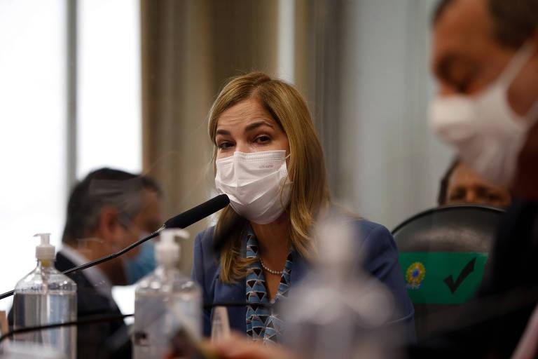 Mayra Pinheiro, do Ministério da Saúde, presta depoimento na CPI da Covid