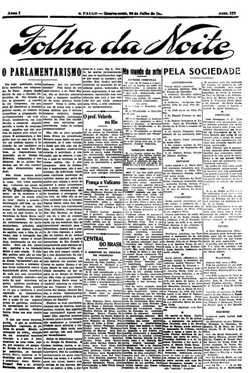 Primeira Página da Folha da Noite de 20 de julho de 1921