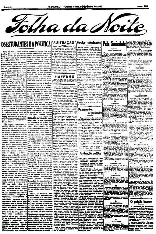 Primeira Página da Folha da Noite de 21 de julho de 1921