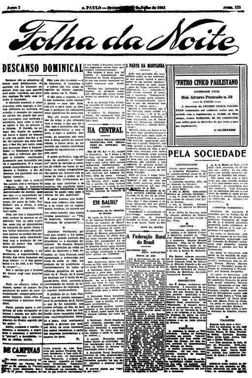 Primeira Página da Folha da Noite de 22 de julho de 1921