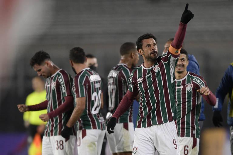 Fred celebra gol do Fluminense no estádio Monumental de Nuñez
