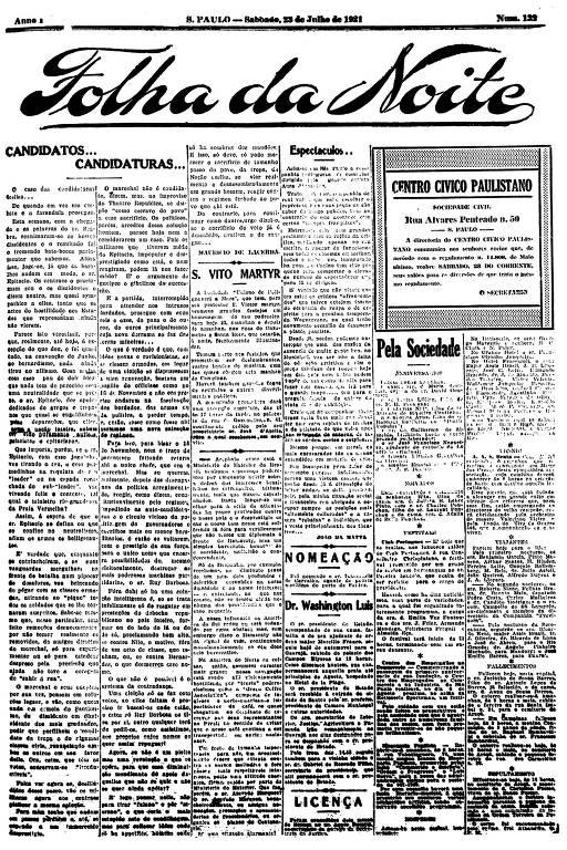 Primeira Página da Folha da Noite de 23 de julho de 1921