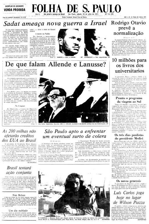 Primeira Página da Folha de 24 de julho de 1971