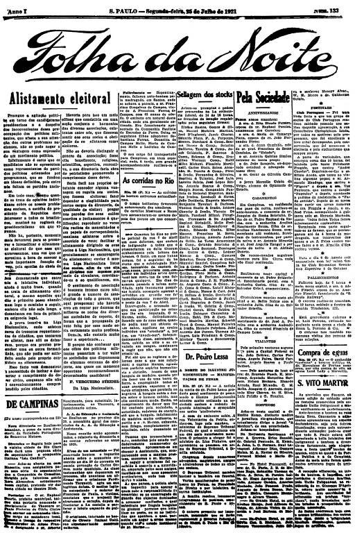 Primeira Página da Folha da Noite de 25 de julho de 1921