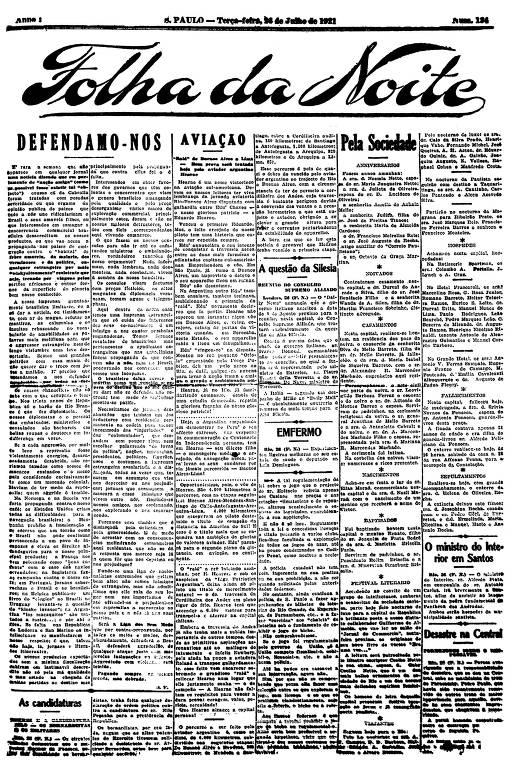Primeira Página da Folha da Noite de 26 de julho de 1921