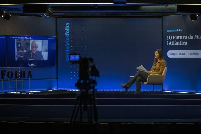 A jornalista Andrea Vialli no webinário Futuro da Mata Atlântica, no auditório da Folha, nesta quarta (26)