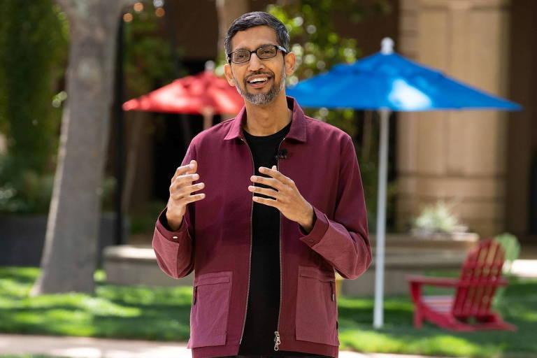 Sundar Pichai, presidente-executivo do Google, durante o evento Google I/O, conferência de desenvolvedores da companhia que aconteceu na semana passada