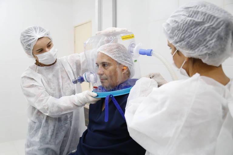 Capacete de respiração criado no Ceará ajuda pacientes com Covid-19