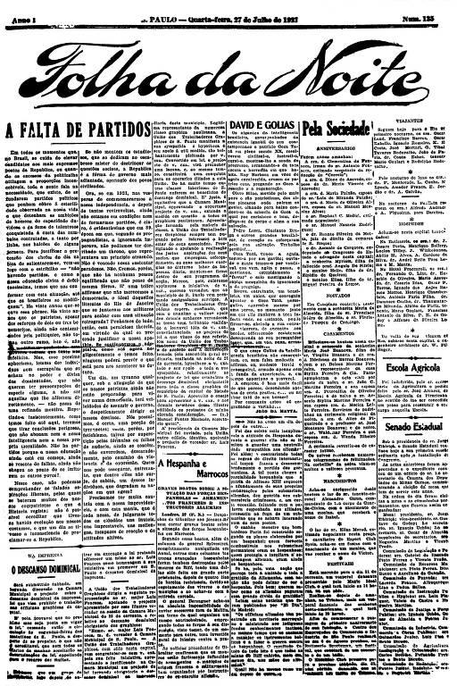 Primeira Página da Folha da Noite de 27 de julho de 1921
