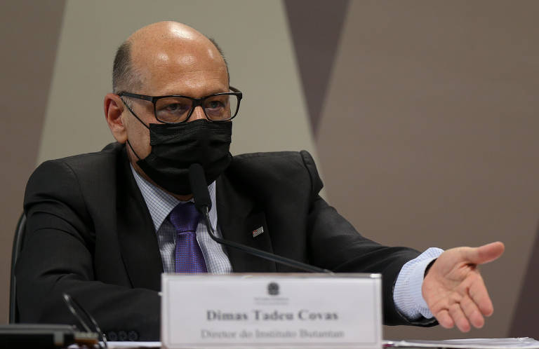 O diretor do Instituto Butantan, Dimas Covas, presta depoimento à CPI da Covid
