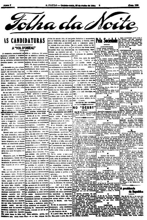 Primeira Página da Folha da Noite de 28 de julho de 1921