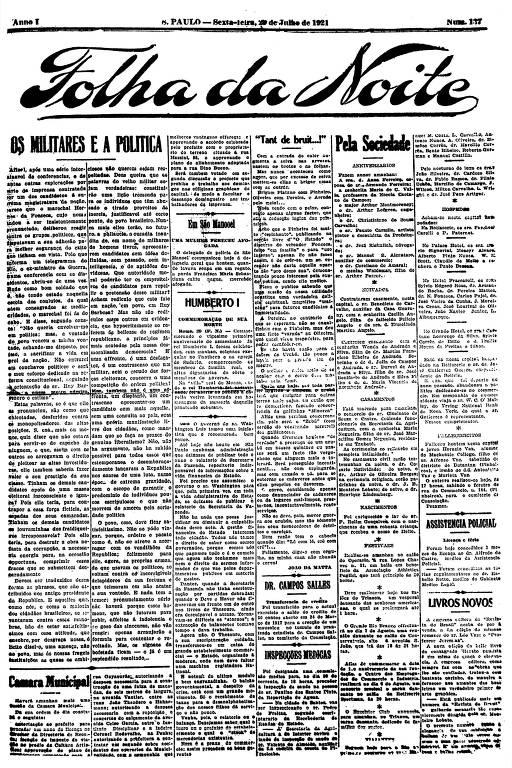 Primeira Página da Folha da Noite de 29 de julho de 1921