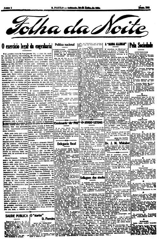 Primeira Página da Folha da Noite de 30 de julho de 1921