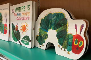 The Very Hungry Caterpillar by acclaimed children's author and illustrator Eric Carle is shown for slae in a book store in California