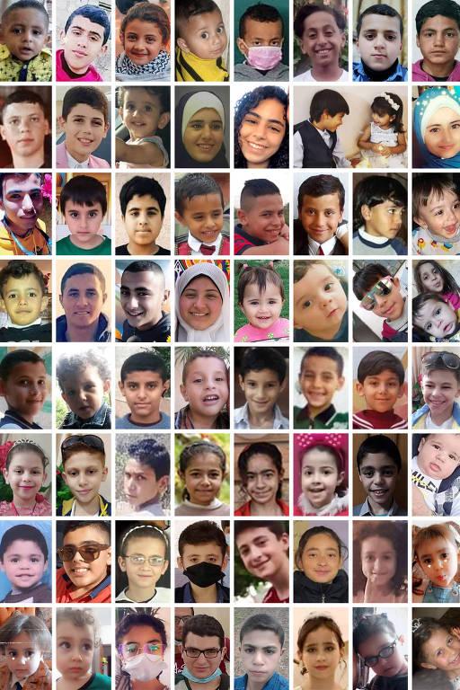 Montagem mostra algumas das crianças e adolescentes mortos no confronto entre Israel e Hamas