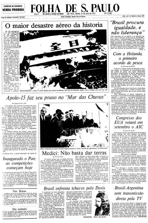 Primeira Página da Folha de 31 de julho de 1971