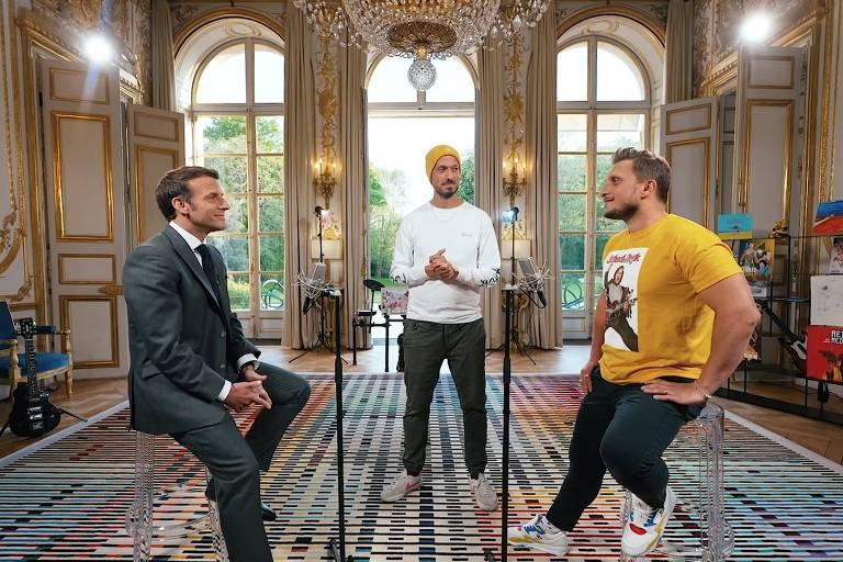 O concurso de piadas entre o presidente, francês Emmanuel Macron, e os youtubers Mcfly et Carlito