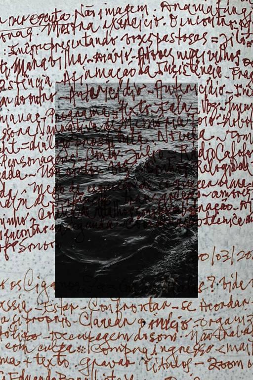 Folha de papel toda ocupada por garranchos vermelhos, com uma imagem de paisagem em preto e branco ao centro