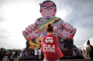 Protest against Brazil's President Bolsonaro in Brasilia