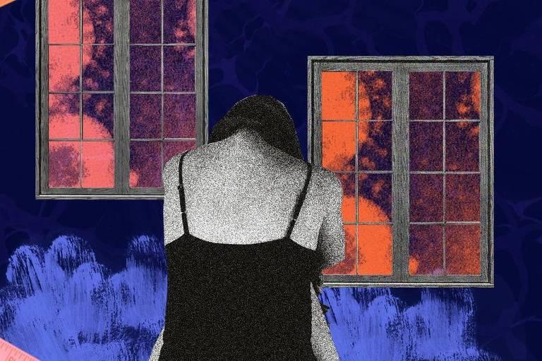 Montagem colorida com a foto de uma mulher, de costas. ela está diante de uma janela