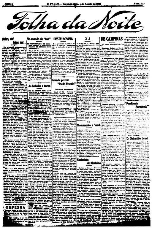 Primeira Página da Folha da Noite de 1º de agosto de 1921