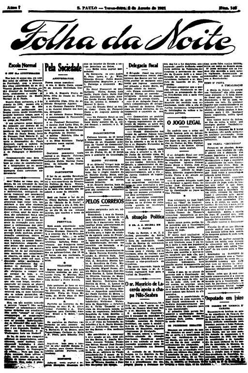 Primeira Página da Folha da Noite de 2 de agosto de 1921