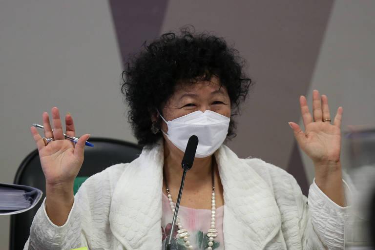 Nise Yamaguchi durante seu depoimento à CPI da Covid, no Senado