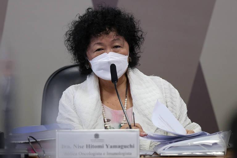 A médica Nise Yamaguchi durante depoimento na CPI da Covid