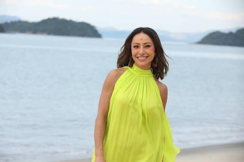 Sabrina Sato nas gravações de A Ilha, novo reality show da Record